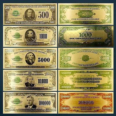 Gold Foil Plated 1928 $500-$1000-$5000-$10,000-$100,000 Gold Novelty Dollar Bill