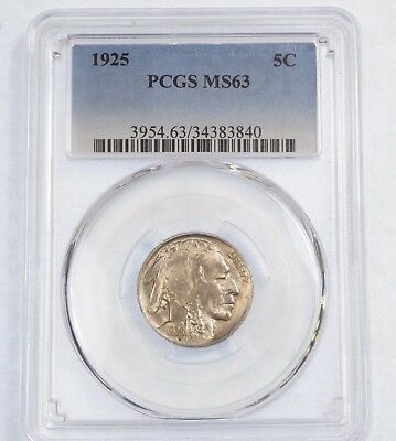 1925 Buffalo Nickel CERTIFIED PCGS MS 63  5-Cents
