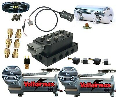 """1/2""""AirValve Manifold 250psi DC480s 7Switch AirRide Suspension kit,Airhose Filtr"""