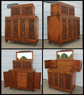Ornate Nouveau Heavily Carved Wood Liquor Cabinet Wine Cocktail Bar NICE Antique
