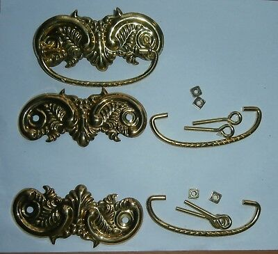 Lot of 3 Light Metal Gold Tone Nice Designs Vintage Drawer Cabinet Pulls