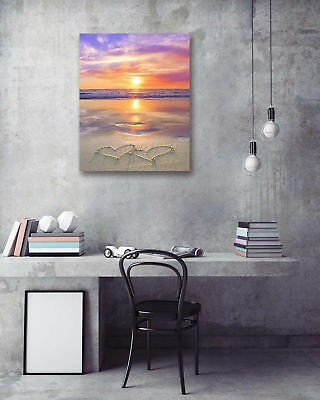 Sunset Beach Love Heart Modern Art Poster Print Wall Room Decor Canvas Painting