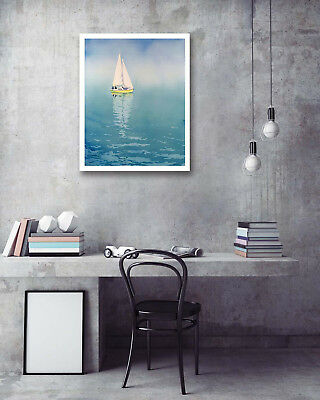 Sea Driving Sailboat Modern Art Poster Print Wall Room Decor Canvas Painting