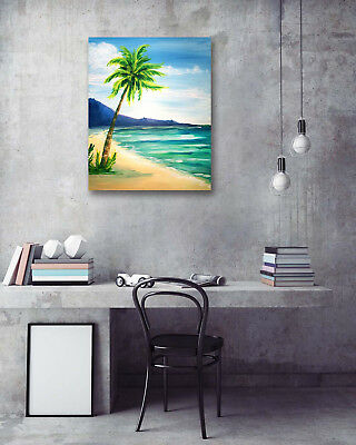 Sunny Beach Coconut Tree Modern Art Poster Print Wall Room Decor Canvas Painting