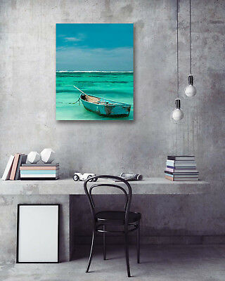 Sea Docked Retro Boat Modern Art Poster Print Wall Room Decor Canvas Painting