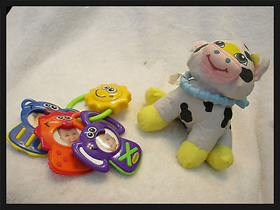 "baby  keyring personalize pictures musical / cloth cow rattler  8"" nice clean"