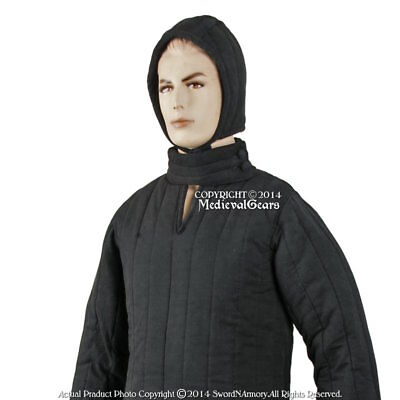 Black Small Size Type 8 Medieval Padded Armour Coat LARP SCA WMA Arming Jacket