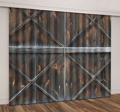 3D Country Barn Door Blockout Photo Print Curtain 2 Panels Drapes Fabric Window