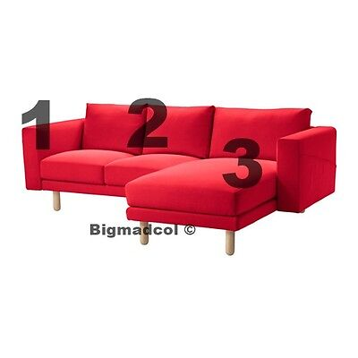 Ikea Norsborg 2 Seater Sofa U0026 Chaise REPLACEMENT COVER ONLY Finnsta Red New