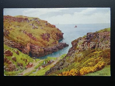 Cornwall TINTAGEL COVE & ISLAND Artist A.R. Quinton - Old Postcard by J.Salmon