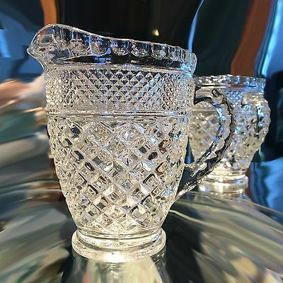EARLY PRESSED GLASS MILK PITCHER,  DIAMOND PATTERN with APPLIED HANDLE