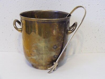 """Vtg Leonard ERNS small 5"""" brass plated ice bucket with tongs India shows wear ~J"""