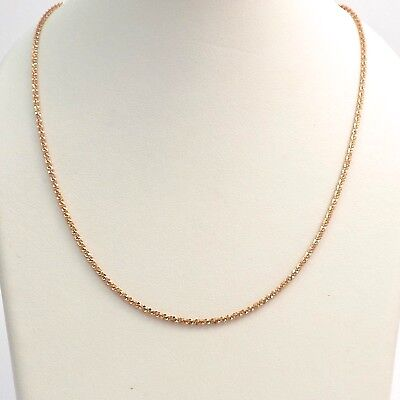 """New 14k Rose Pink Gold 1.5mm Round Sparkle Link Pendant Chain Necklace 20.5"""""""