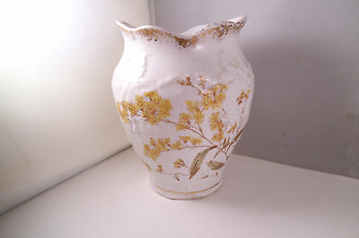 Vintage John Maddock & Sons England Royal Vitreous Vase Yellow Flowers