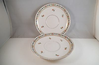 Vintage John Maddock & Sons Royal Vitreous Pair of Saucers Blue Red Flowers