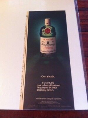 Vintage 1986 Tanqueray Gin A Singular Experience Own A Bottle Print Art ad