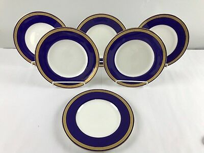 6 Antique Cobalt Gold Encrusted Minton TIFFANY & CO Plates Original Liners 10.25