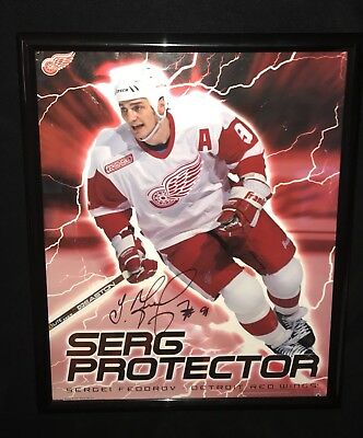 SERGEI FEDOROV SIGNED FRAMED VINTAGE DETROIT RED WINGS 16x20 POSTER COA