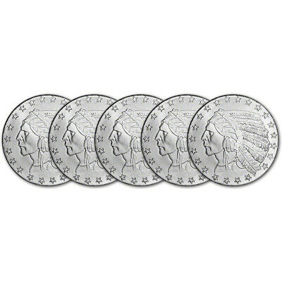 FIVE (5) 1 oz. Highland Mint Silver Round - Incuse Indian Design .999 Fine