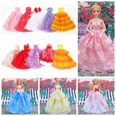 6x Party Gown Clothes Handmade Wedding Dress Outfits For Barbie Doll Random Gift