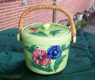 Vintage flowered Biscuit Jar 1920's -30's Made in Japan with wicker handle EXC.
