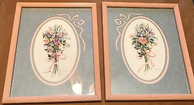Homco Home Interiors Set of 2 Pictures Floral Pink Frames Patty Lennon Malthia