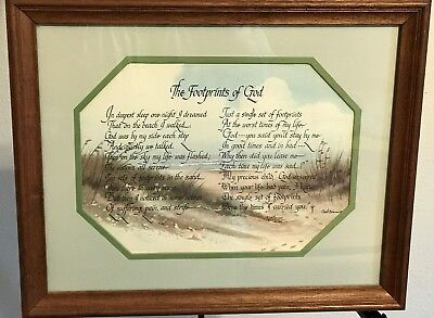 Homco Home Interiors Picture The Footprints of God Ken & Gail Brown Vintage VGC