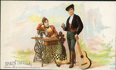 1892 Singer Sewing Machine Chromolitho Trade Card 77 Costume Of SPAIN SEVILLE