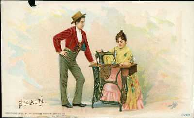 1892 Singer Sewing Machine Chromolitho Trade Card 69 Costume Of SPAIN