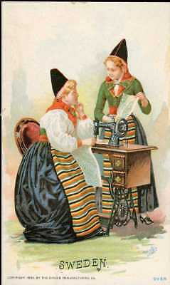 1892 Singer Sewing Machine Chromolitho Trade Card 60 Costume Of SWEDEN