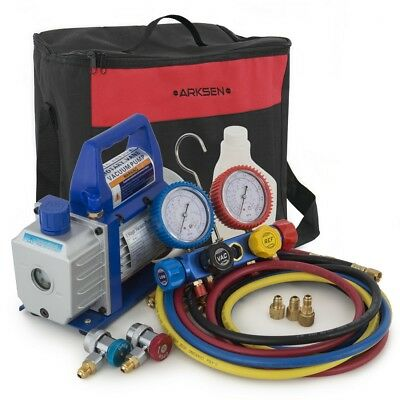 4 Way Manifold Gauge HVAC & 3-CFM Vacuum Pump R410 R22 R134 R407C (Carry Bag)