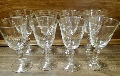 Set of 8 Clear Wine Glasses - Cristal D'Arques-Durand with Swirl Optic Pattern