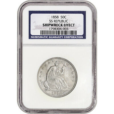 1858 US Seated Liberty Silver Half Dollar 50C NGC Shipwreck Effect SS Republic