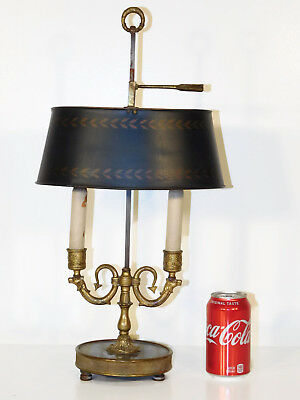 RARE ANTIQUE French Brass Bronze Marble Camel's Head Bouillotte Lamp
