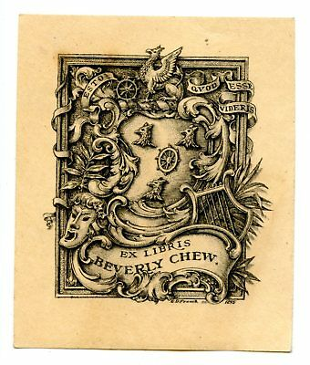 Beverly Chew 1895 Antique Small Bookplate Engraving Etching Signed E. D. French
