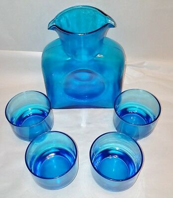 "BLENKO BLUE GLASS WATER BOTTLE DOUBLE SPOUT DIMPLES 8.25""  + 4 Matching Tumblers"