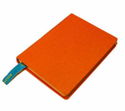 Polo Ralph Lauren Hardcover Canvas Lined Notebook Journal Diary Book Orange Gold