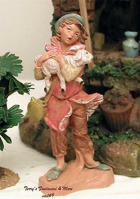 """Fontanini Depose Italy Retired 4.5"""" Aaron Carrying Lamb Nativity Village Fig New"""