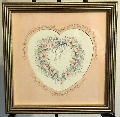 Homco Home Interiors Heart Picture Margie Whittington Artist VGC Gold Frame
