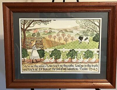"Homco Home Interiors Picture 22"" x 17""  Psalm 25:4-5 Farm Ducks Cow Plants Girl"