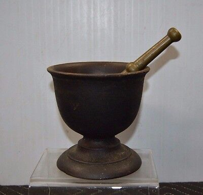 """ANTIQUE Fine Cast Iron Mortar with Solid Brass Pestle 5"""" x 5"""""""