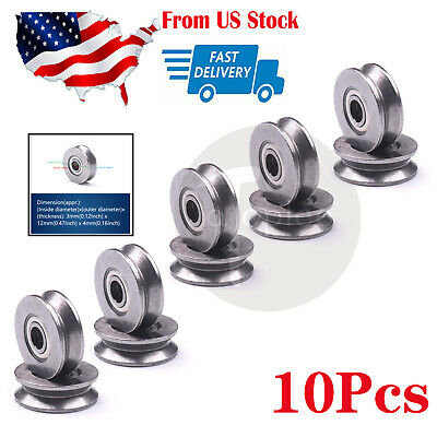 US 10PCS V623/603ZZ V Groove Wire Sealed Guide Pulley Rail Ball Bearings Wheel