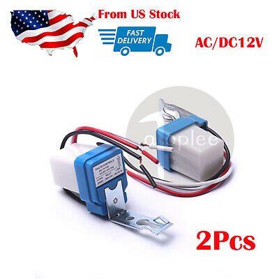 2xAutomatic Auto Street Light Switch Photo Control Sensor for AC DC12V 10A in US