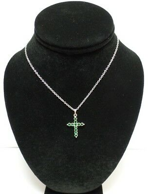Lot of 24 - Heart and Cross Emerald Birthstone Pendant Necklaces - Green