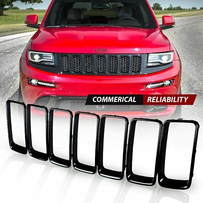7pcs Gloss Black Front Grille Trim Ring Insert for Jeep Grand Cherokee 2014-2016