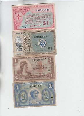 Military Payment Certificates Group of 4 notes low grade and up