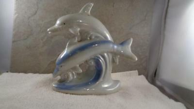 "Mother & Baby Dolphin Ceramic  Figurine 4"" Tall   Vintage"