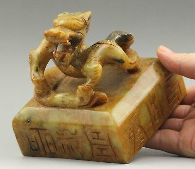 Chinese seals China old natural jade hand-carved dragon seal old statue 4.5 inch