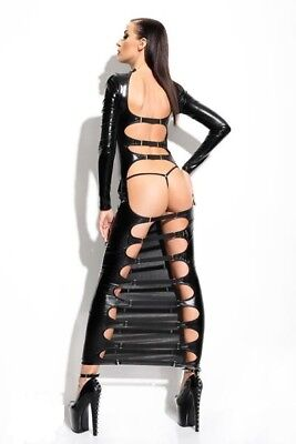 Robe longue noire  & string  sexy bdsm wetlook Dorothéa DEMONIQ Mistress