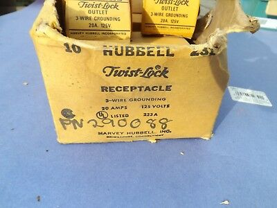 6 New Old Stock HUBBELL 2310 Twist Lock 3 Wire Outlet 20a 125v